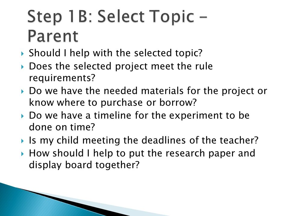 Step 1B: Select Topic - Parent