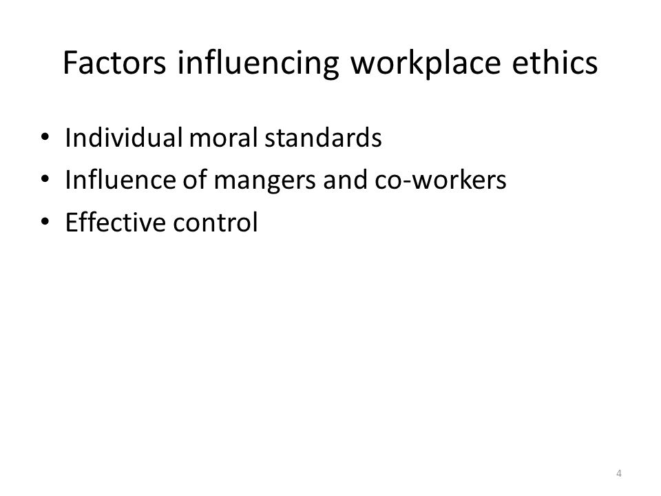 which factors influence the code of ethics Factors influencing business ethics business leaders today are well aware of the ethical issues and hence they want to improve the ethical standards of the businessself-regulation is, of course, better and produce impressive results.