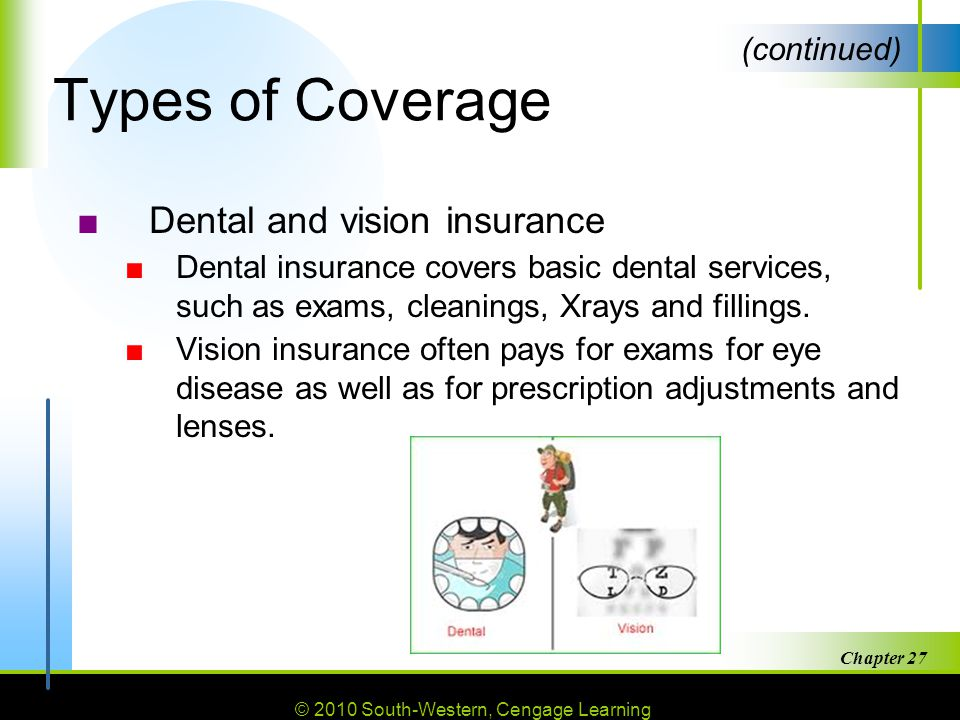 Types of Coverage Dental and vision insurance (continued)
