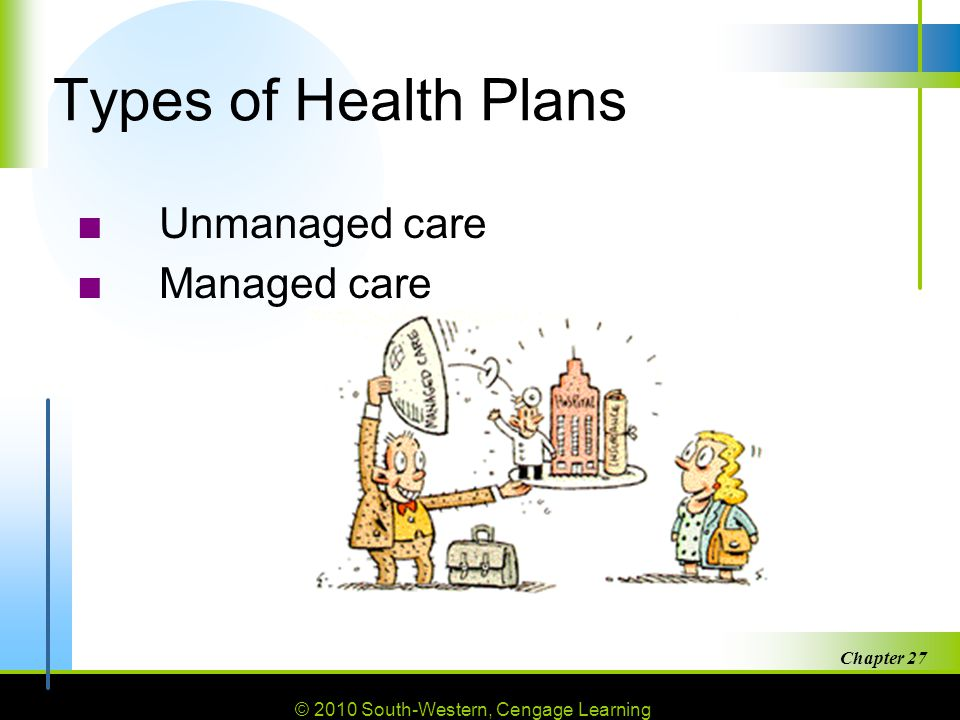 Types of Health Plans Unmanaged care Managed care Chapter 27
