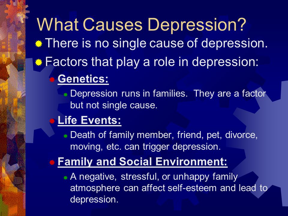 the major causes of depression What follows is an overview of the current understanding of the major factors believed to play a role in depression the brain's impact on depression popular lore has it that emotions reside in the heart.