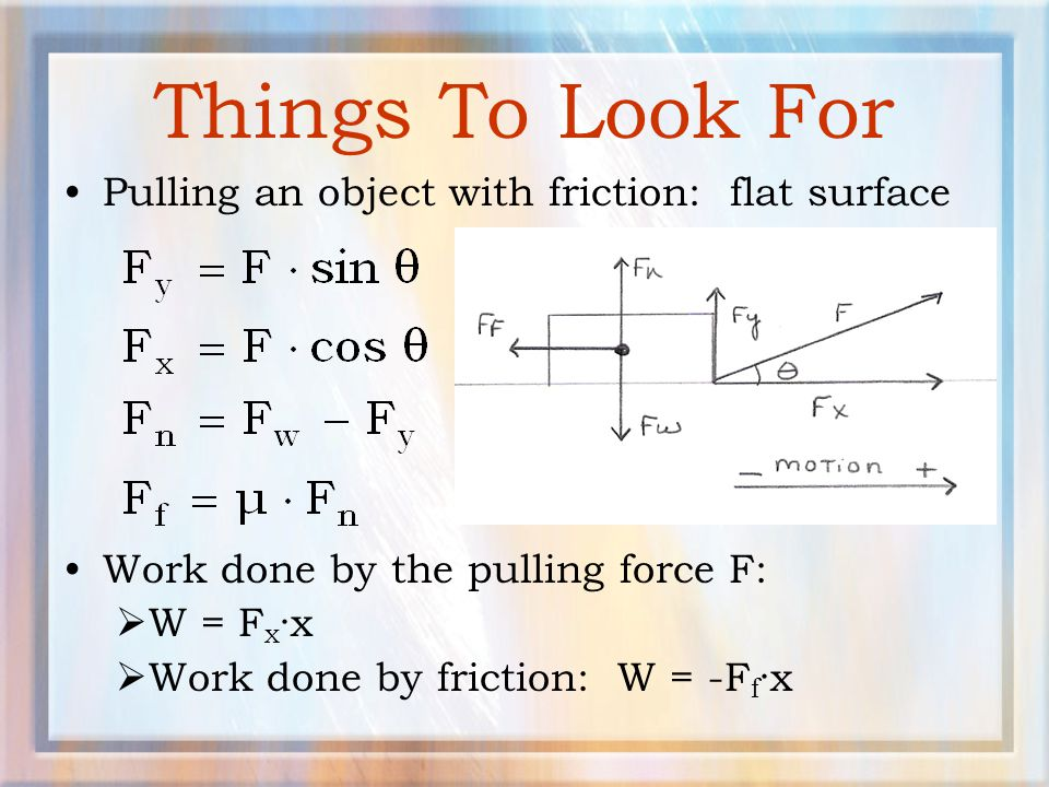Things To Look For Pulling an object with friction: flat surface