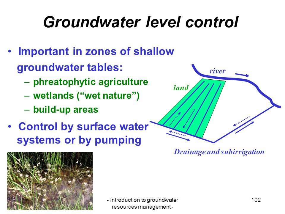 Groundwater level control