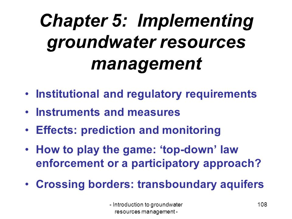 Chapter 5: Implementing groundwater resources management