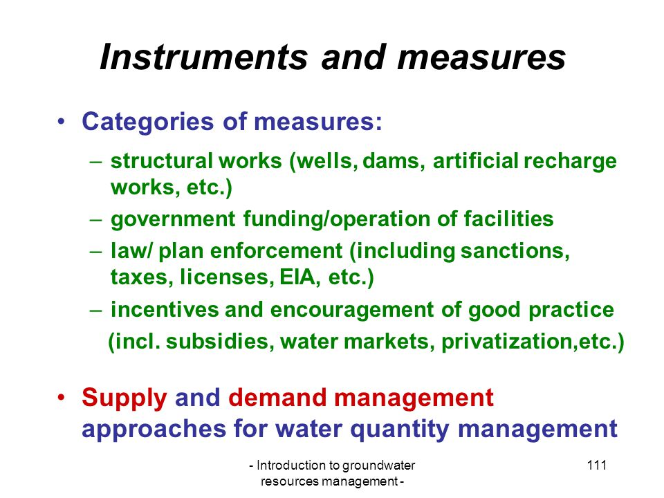 Instruments and measures