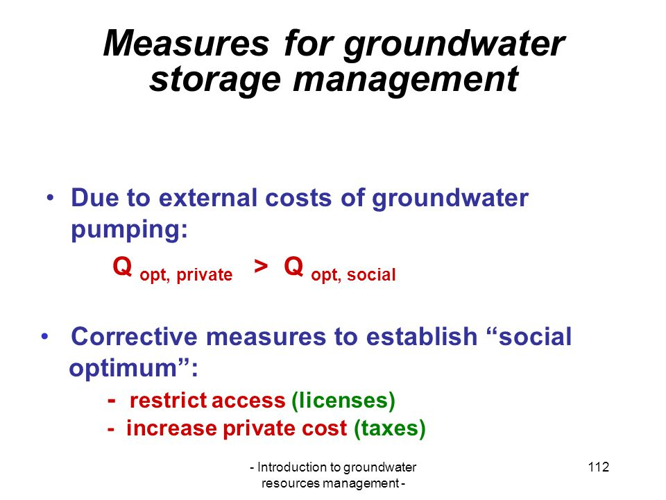 Measures for groundwater storage management