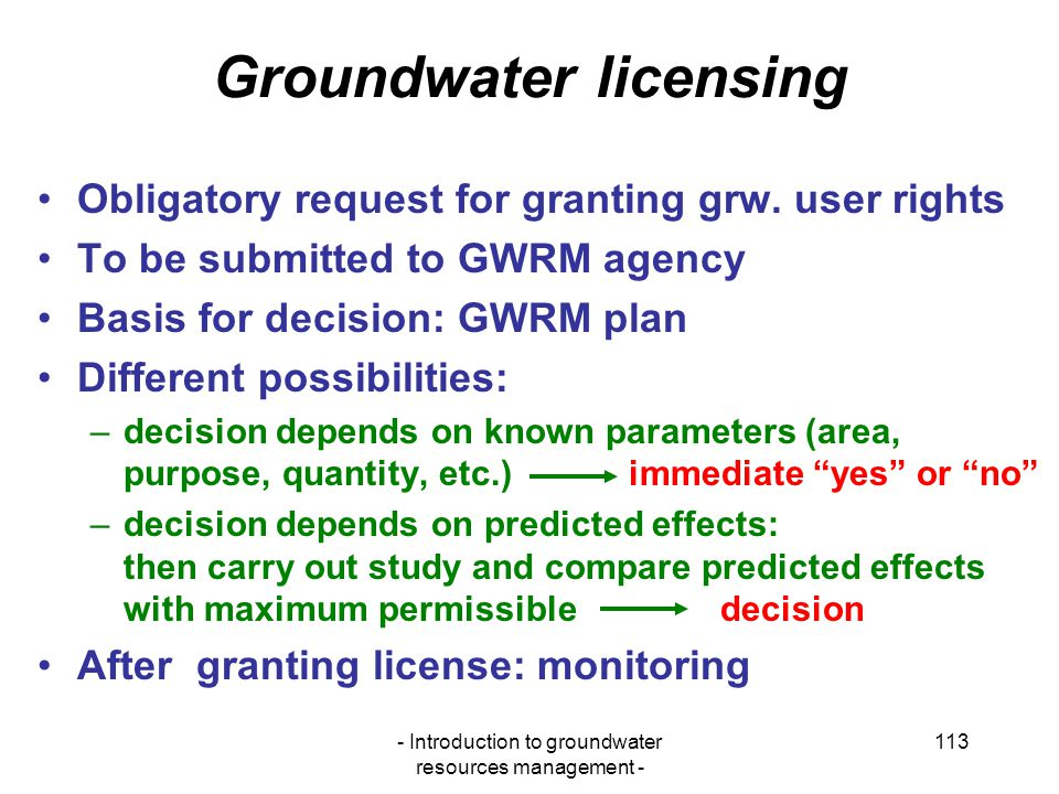 Groundwater licensing