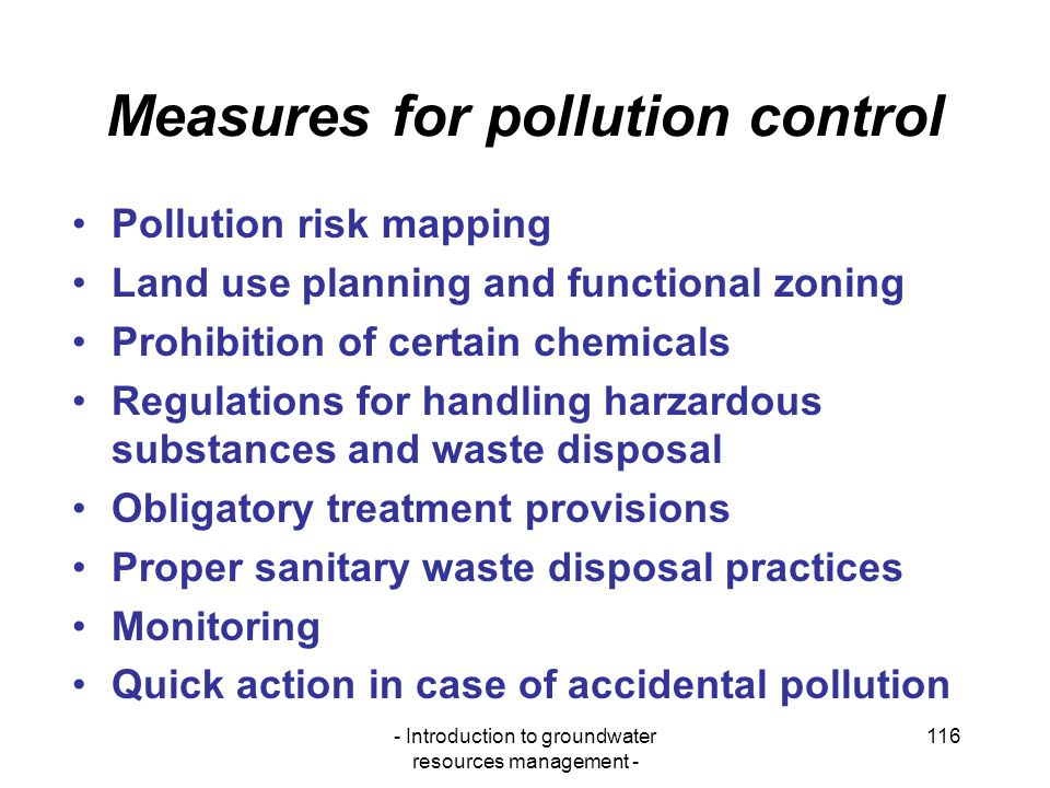 Measures for pollution control