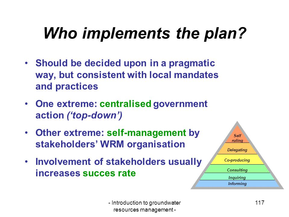 Who implements the plan
