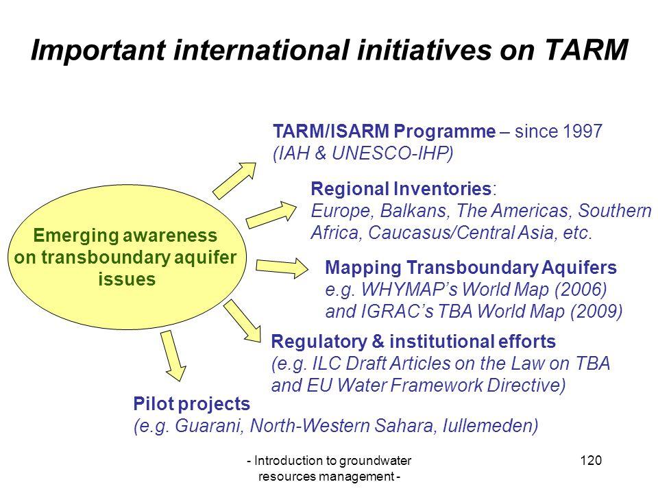 Important international initiatives on TARM