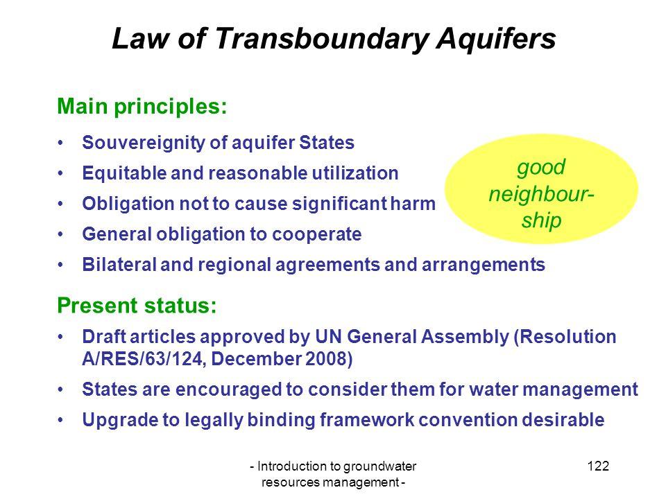Law of Transboundary Aquifers