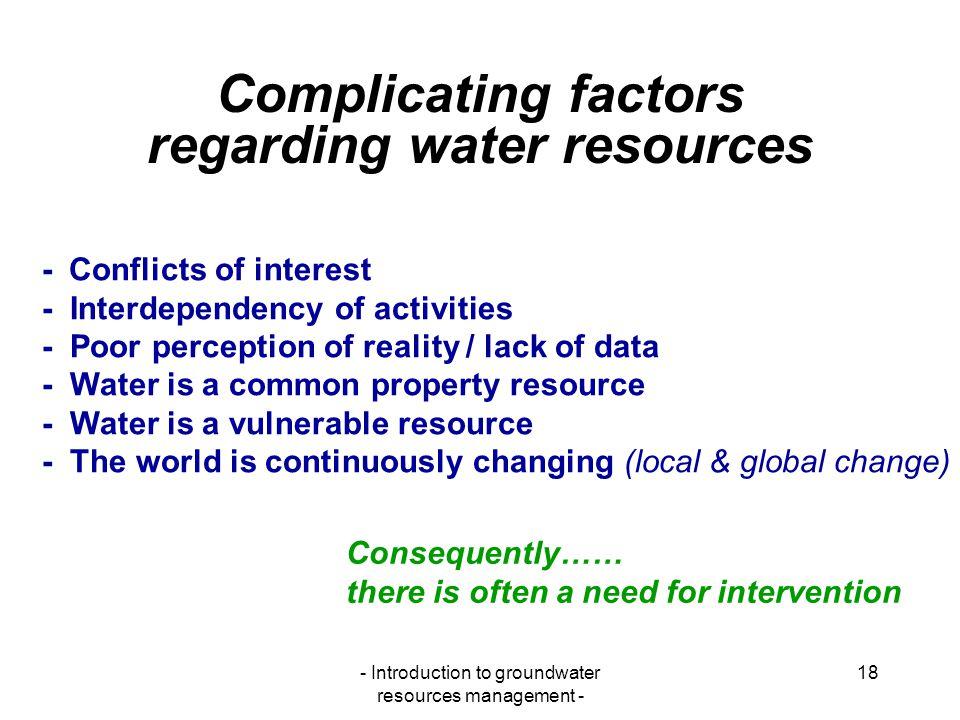Complicating factors regarding water resources