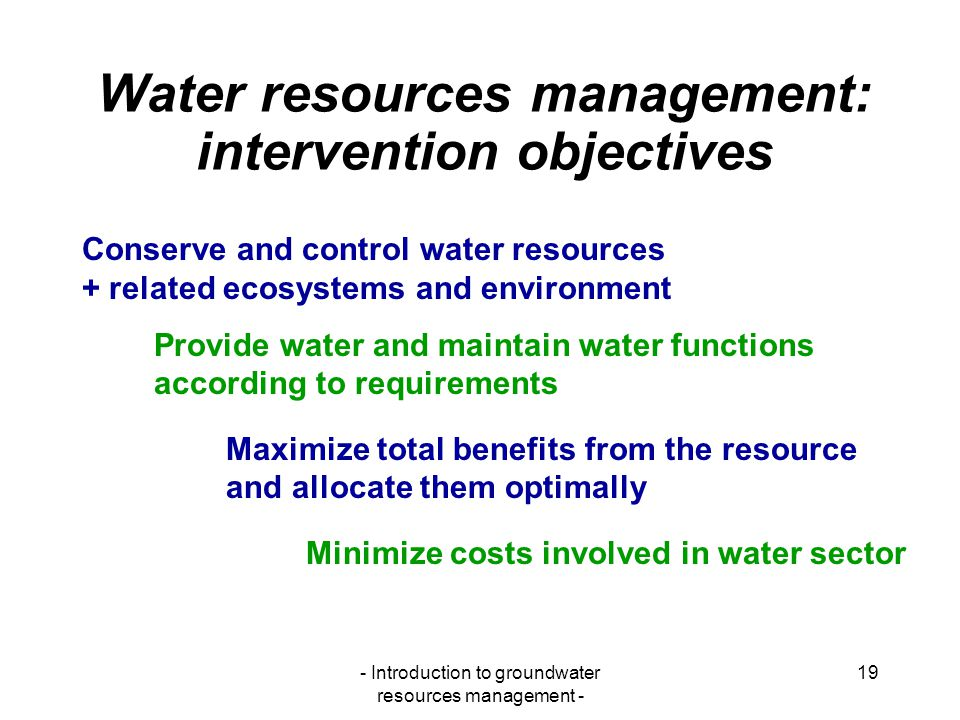 Water resources management: intervention objectives