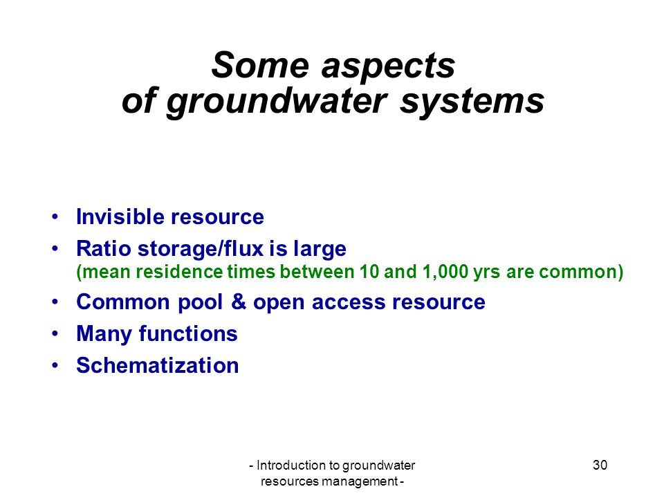 Some aspects of groundwater systems