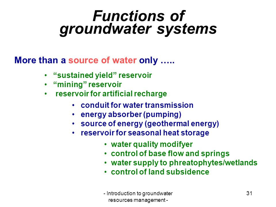 Functions of groundwater systems