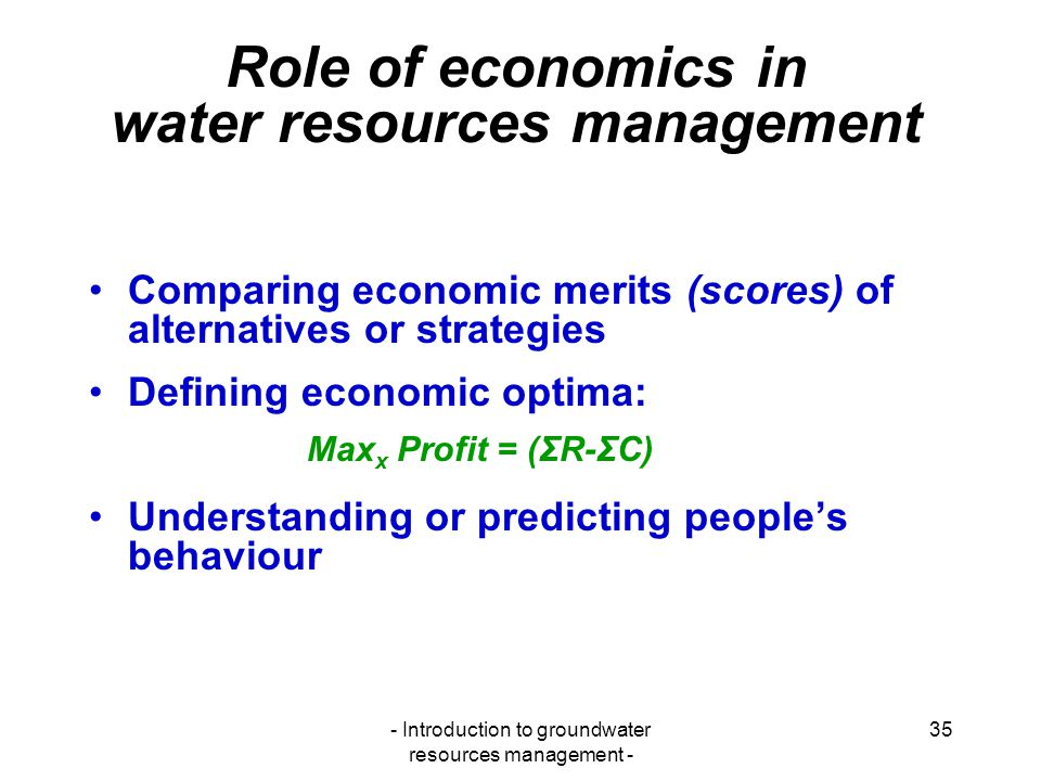 Role of economics in water resources management