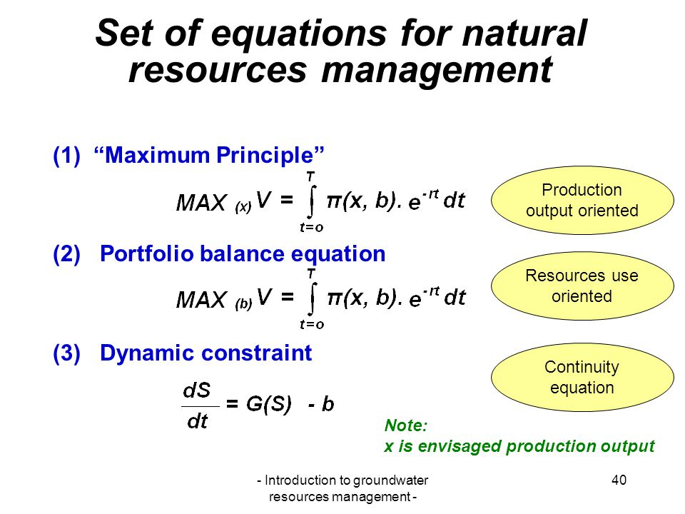 Set of equations for natural resources management