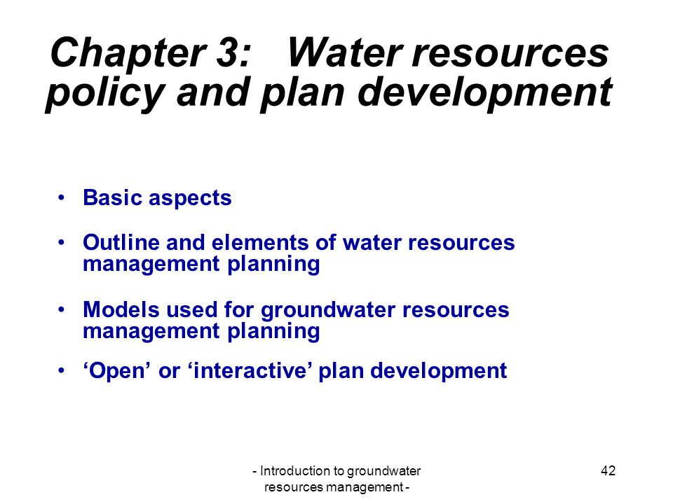 Chapter 3: Water resources policy and plan development