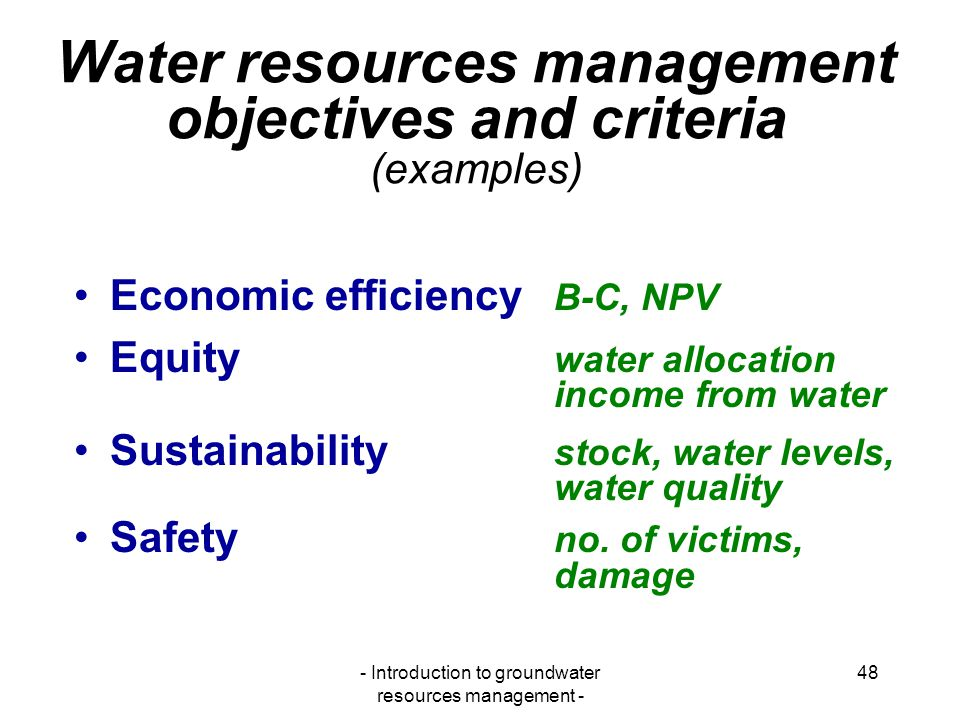 Water resources management objectives and criteria (examples)