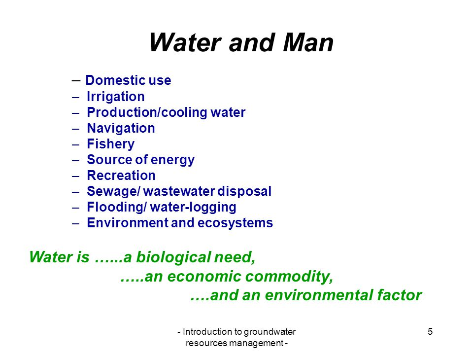 - Introduction to groundwater resources management -