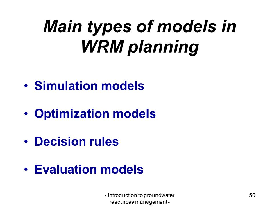 Main types of models in WRM planning