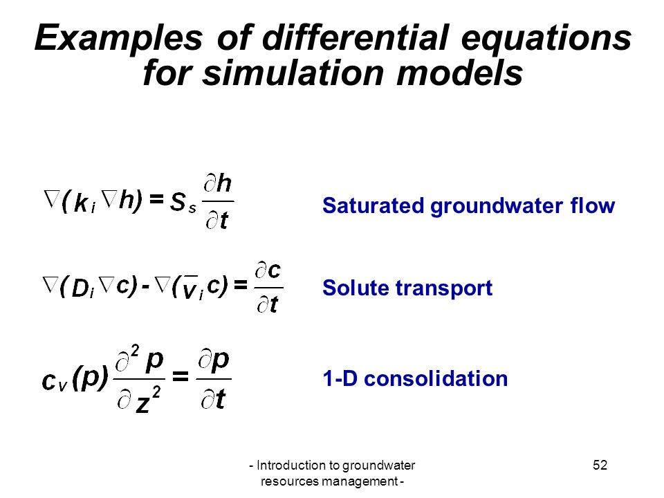 Examples of differential equations for simulation models