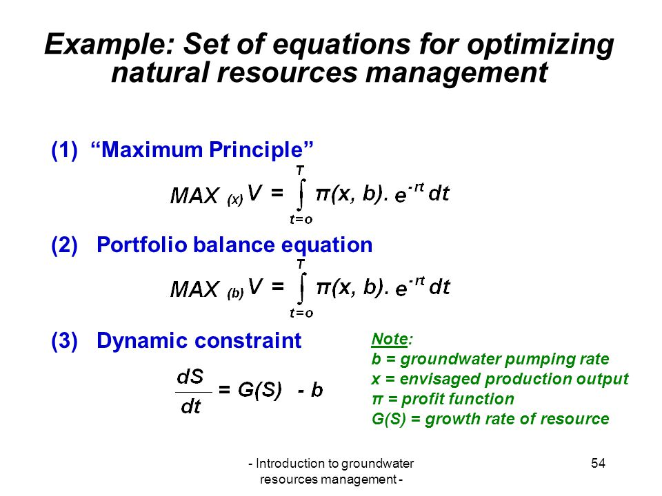 Example: Set of equations for optimizing natural resources management