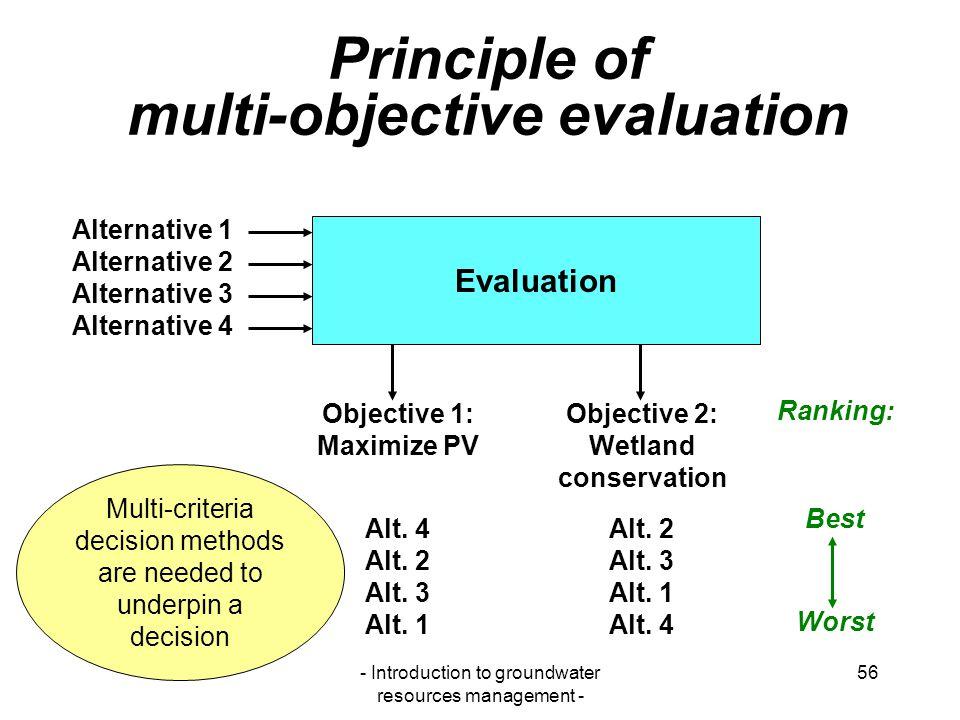 Principle of multi-objective evaluation
