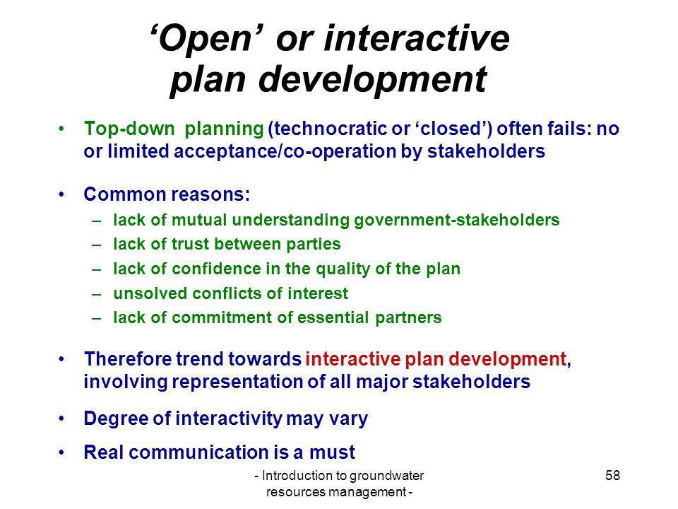 'Open' or interactive plan development