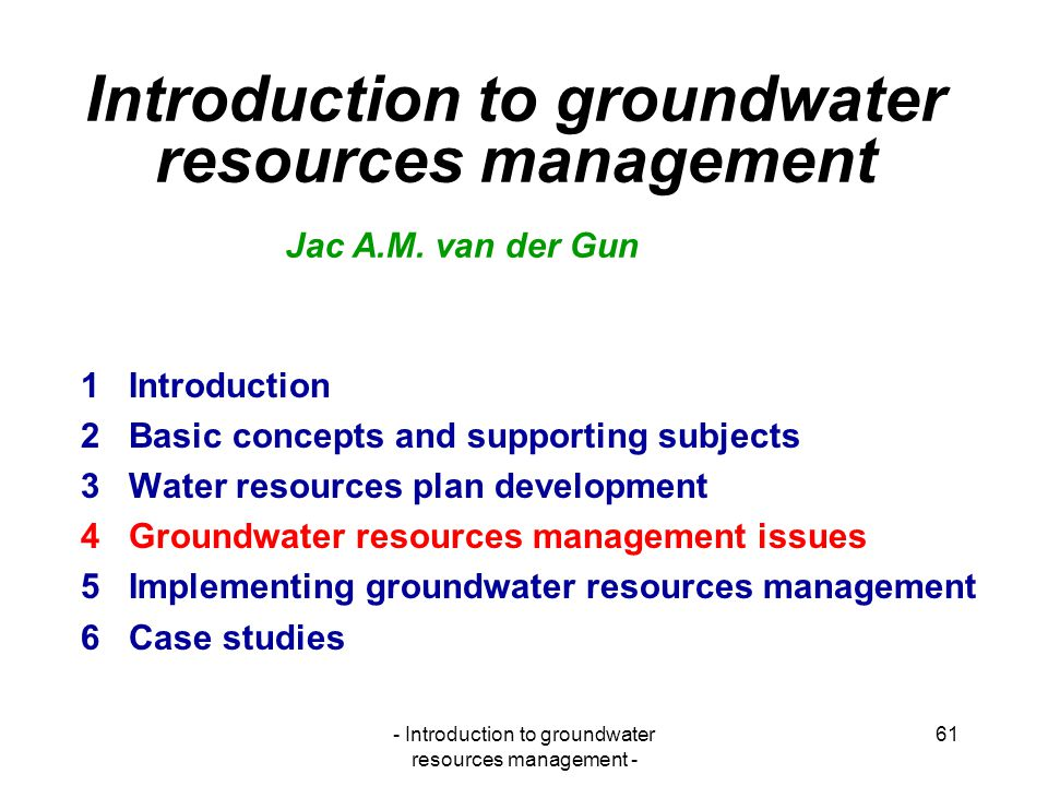 Introduction to groundwater resources management