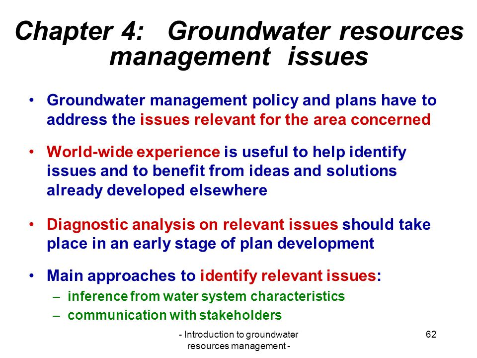 Chapter 4: Groundwater resources management issues