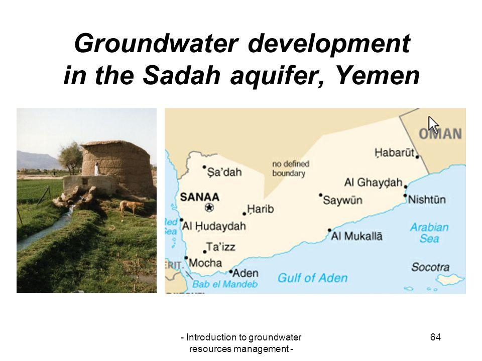 Groundwater development in the Sadah aquifer, Yemen