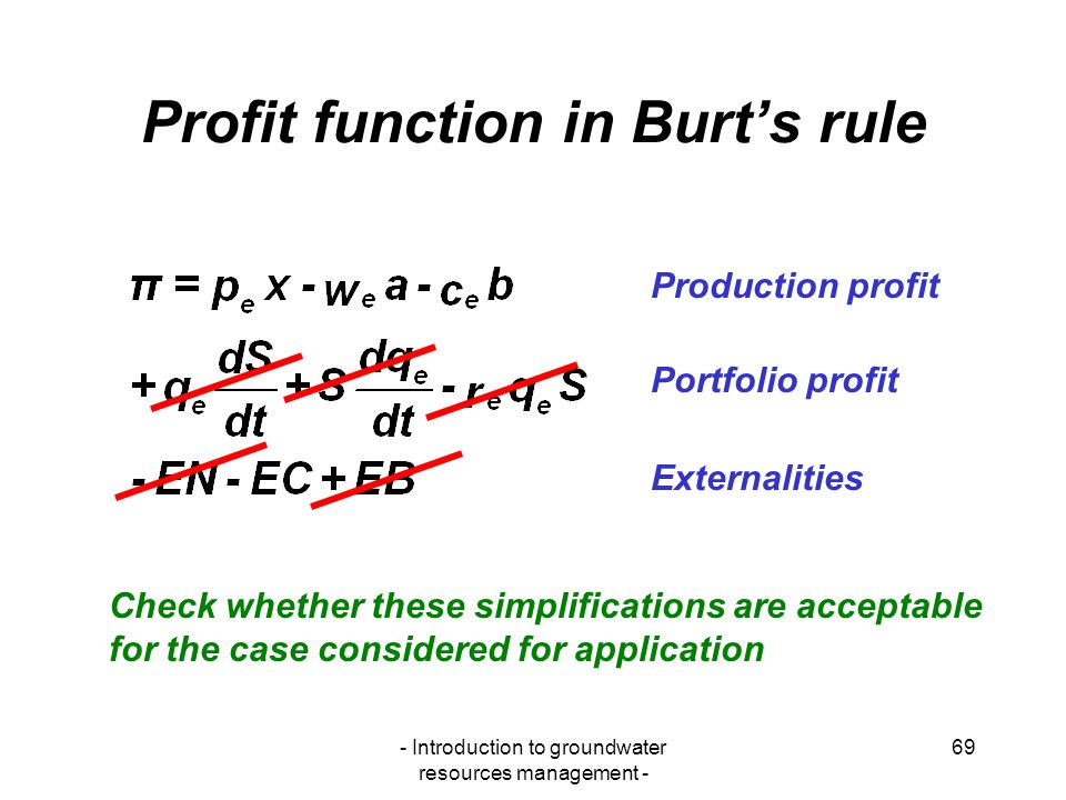 Profit function in Burt's rule