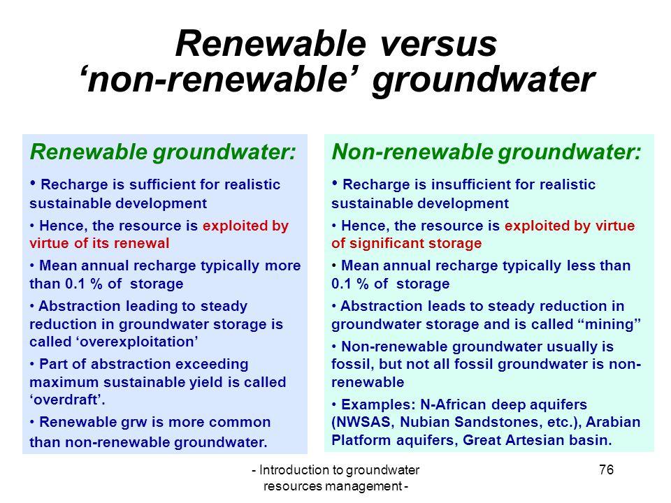Renewable versus 'non-renewable' groundwater