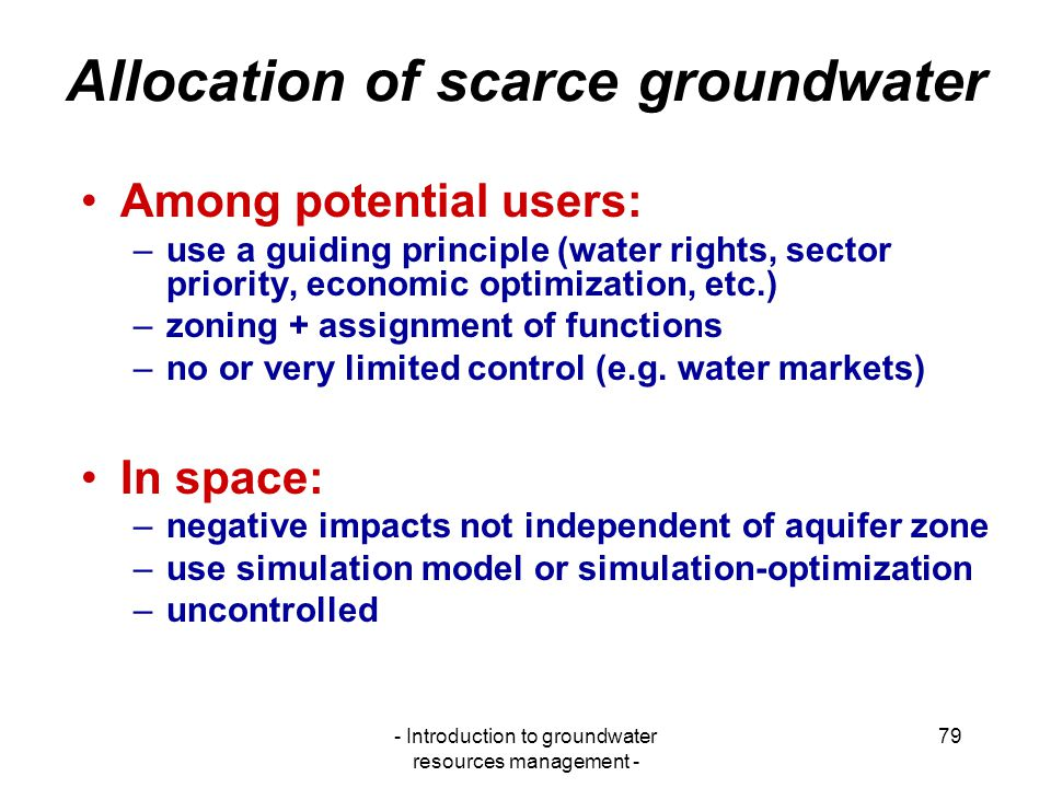 Allocation of scarce groundwater