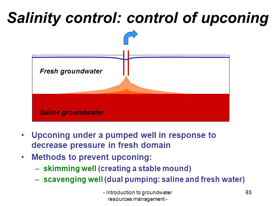 Salinity control: control of upconing
