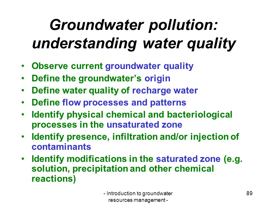 Groundwater pollution: understanding water quality