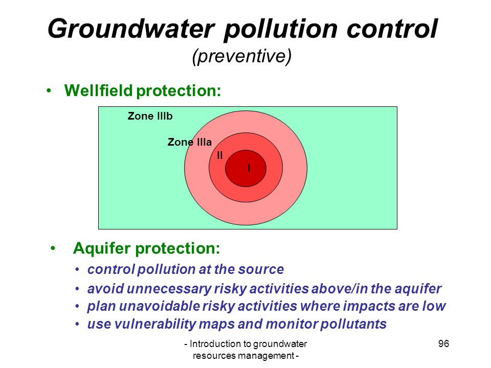 Groundwater pollution control (preventive)