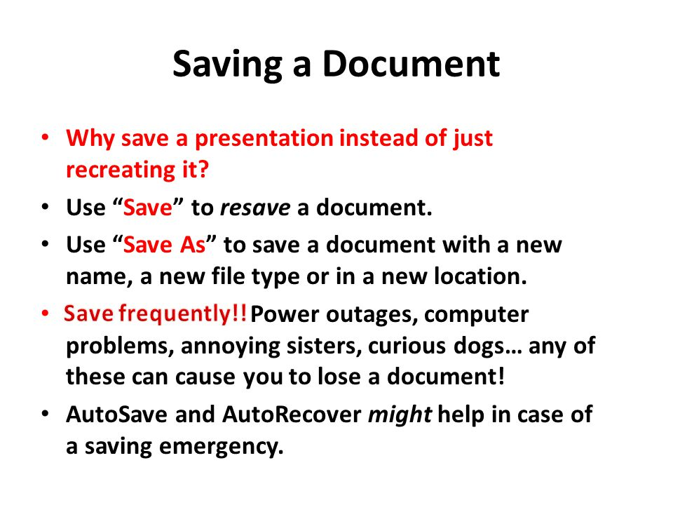 how to make a document save as new