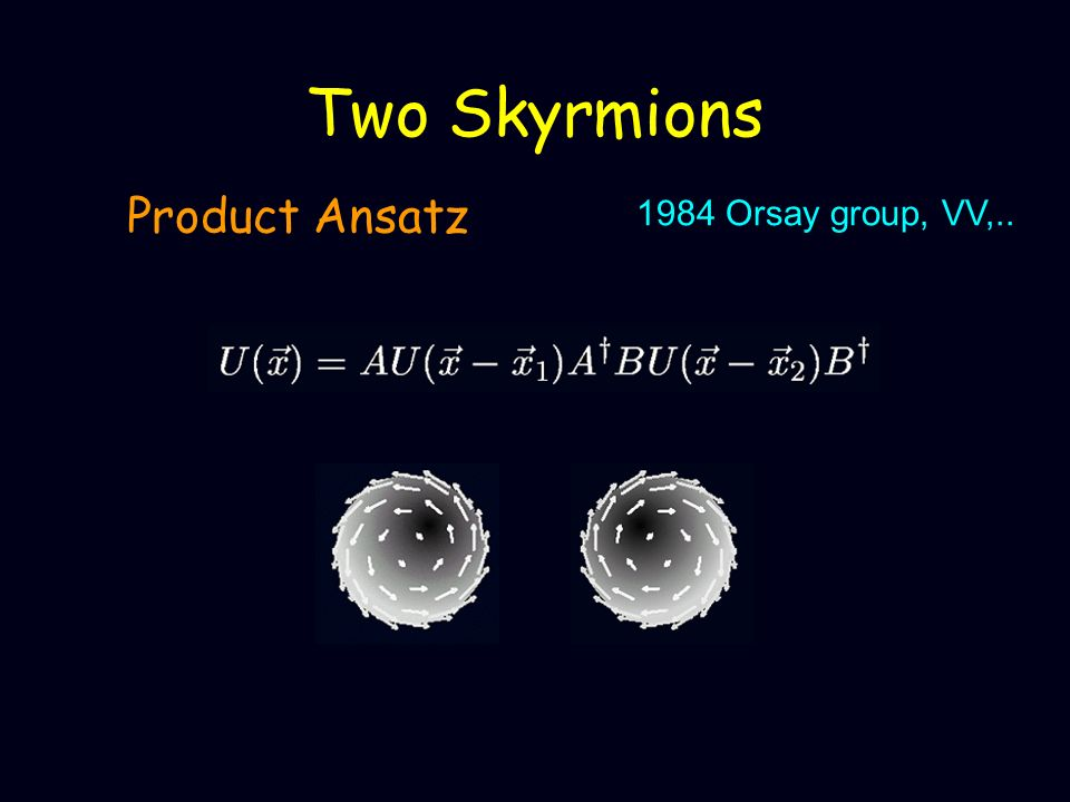 Two Skyrmions Product Ansatz 1984 Orsay group, VV,..
