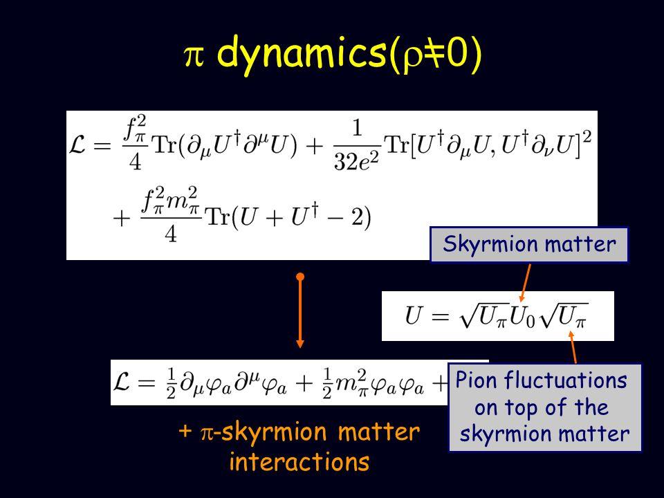 p dynamics(r=0) \ + p-skyrmion matter interactions Skyrmion matter