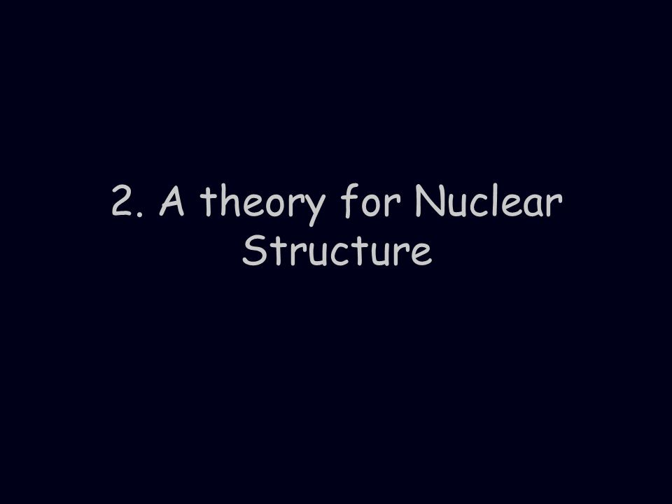 2. A theory for Nuclear Structure