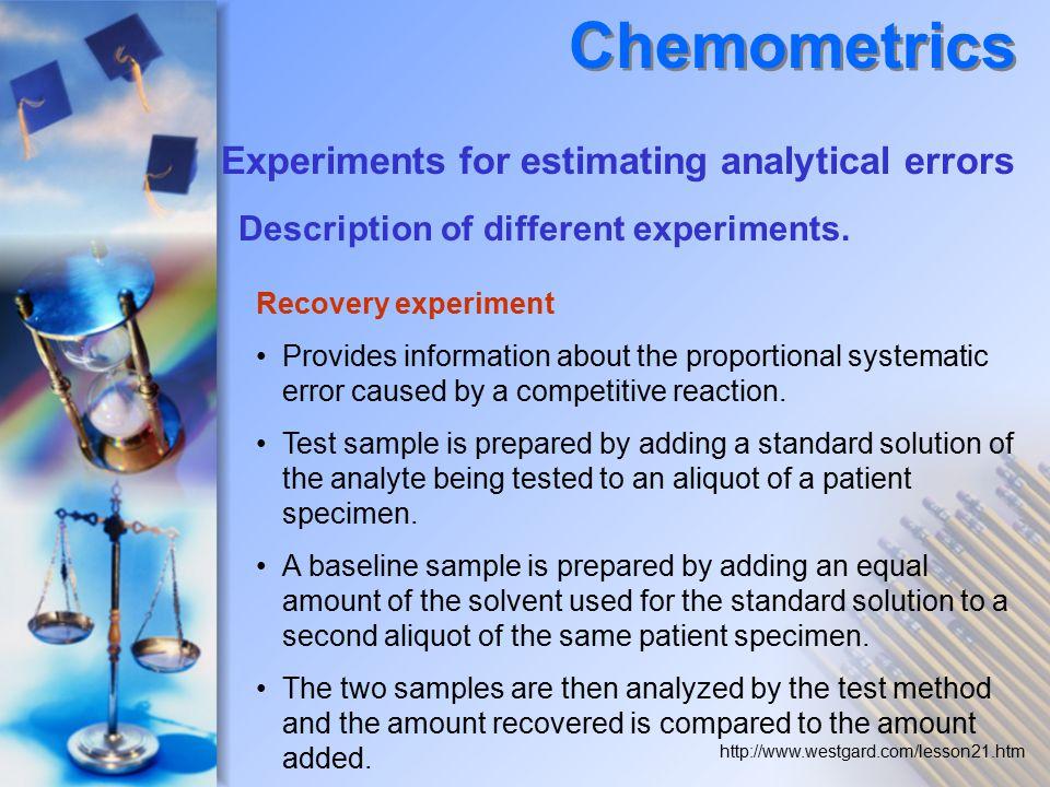 Chemometrics Experiments for estimating analytical errors
