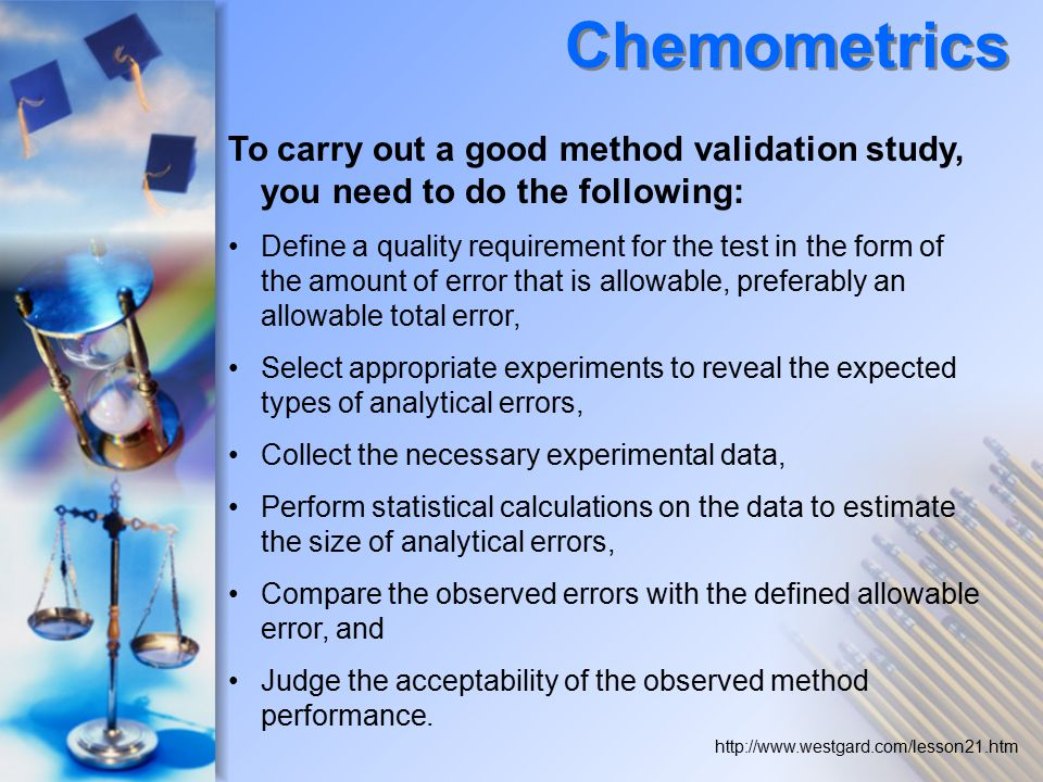 Chemometrics To carry out a good method validation study, you need to do the following: