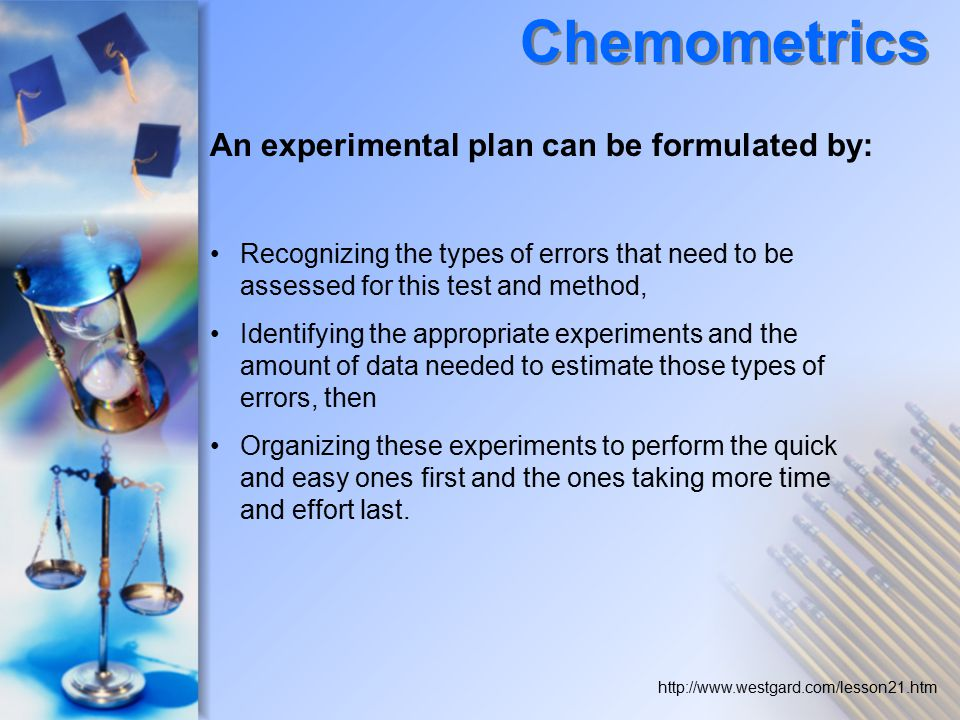 Chemometrics An experimental plan can be formulated by: