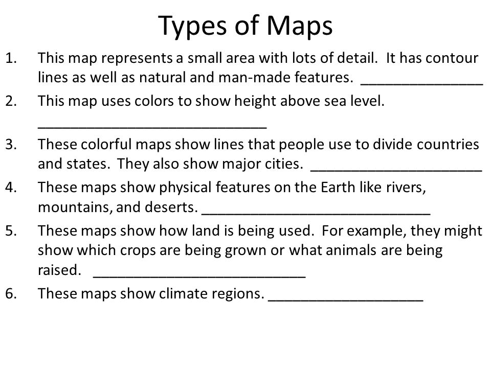 pictures types of maps worksheet leafsea. Black Bedroom Furniture Sets. Home Design Ideas