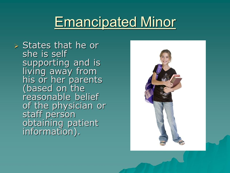 medical emancipation of a minor The medical emancipation of a minor allows the individual to make his or her own decisions regarding medical treatment if a minor receives medical emancipation, they will be able to decide.