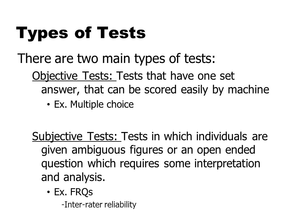 Types of Psychological Testing