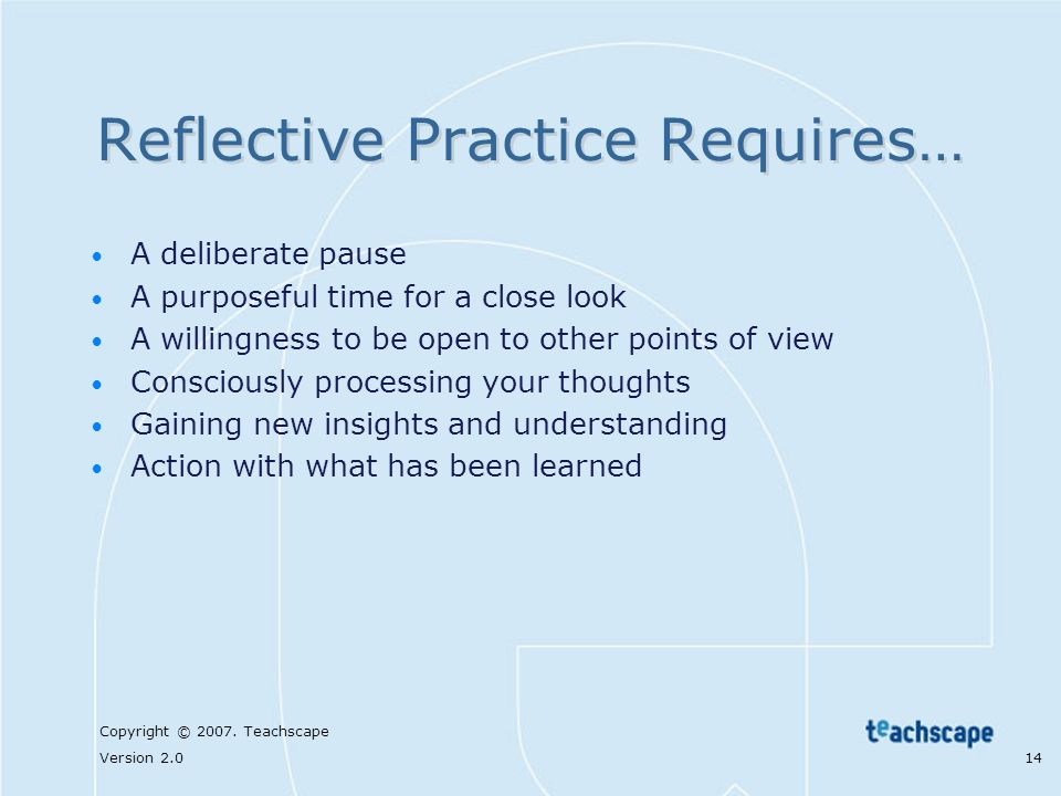 Reflective Practice Requires…