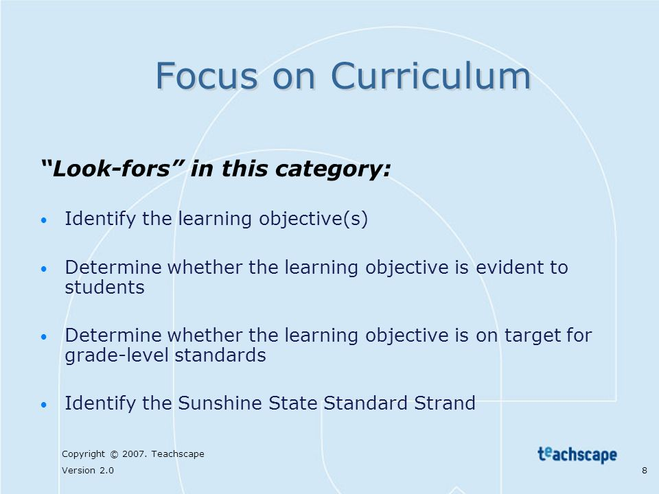 Focus on Curriculum Look-fors in this category: